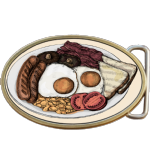 Full English / American Breakfast Belt Buckle. egg sausage mushrooms bacon beans toast Code A0058